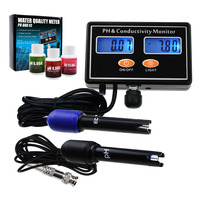Online PH & EC Conductivity Monitor Meter Tester ATC, Wall Mountable & Rechargeable, for Aquaculture, Aquarium, Pond, Hydroponic