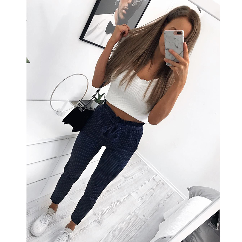 Streetwear striped harem pants capri Ruffle loose casual pants women 2018 Summer trousers mid waist pants bottom