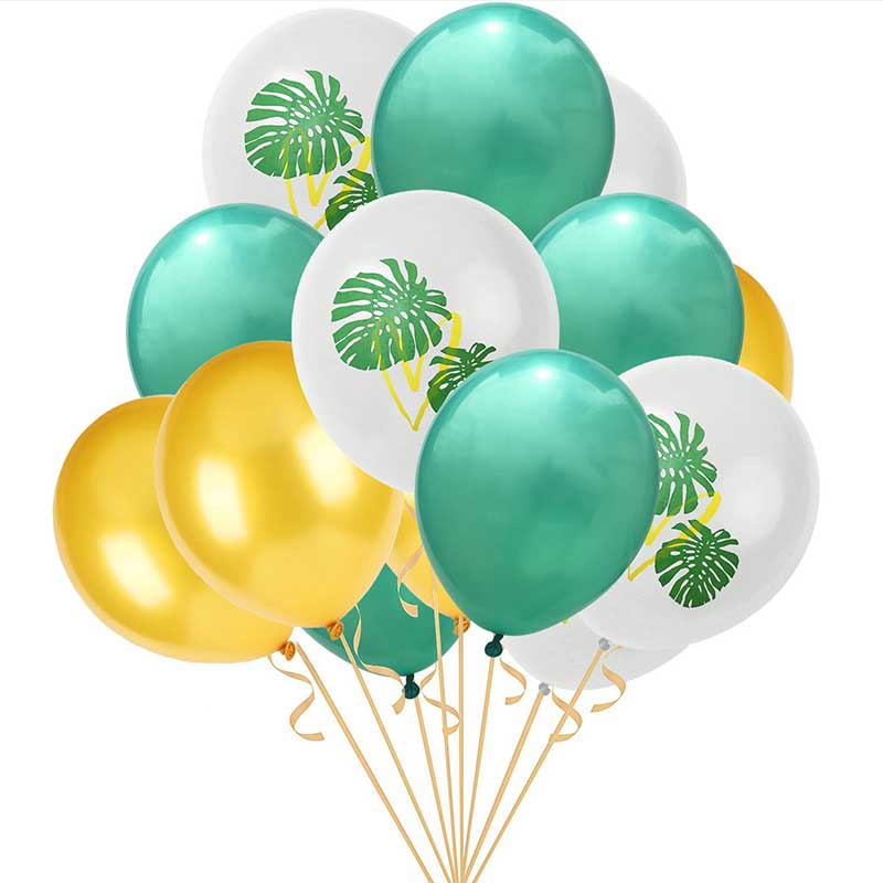 US $2 09 42% OFF|15/set Jungle Party Decorations Flamingo Balloons Turtle  Leaf Printing White Balloon Hawaiian tropical birthday decoration S1YN-in