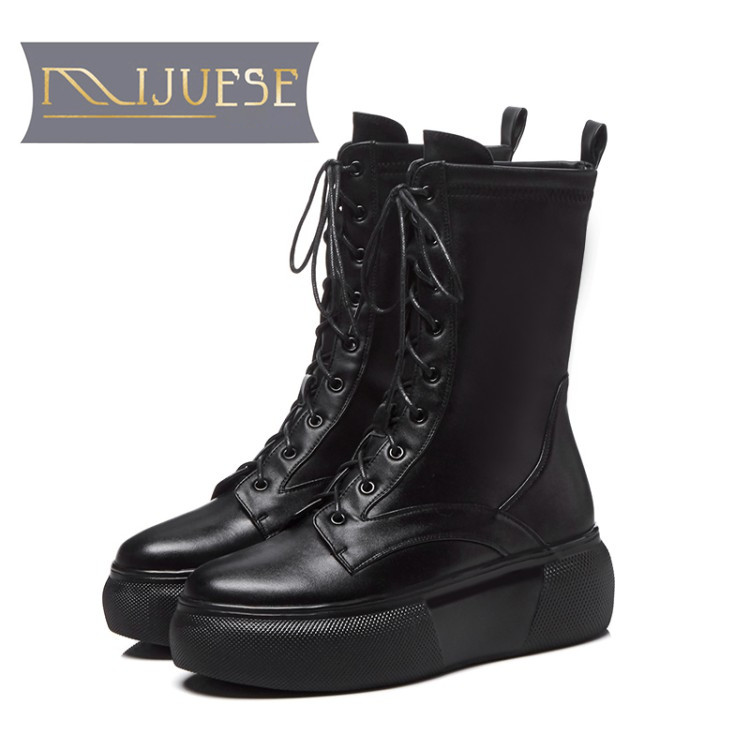 Frauen kalb 1 black Kuh Plüsch Leder Pelz Mid 2 Up Lace Mljuese Winter Warme Martin Plattform Stiefel 2019 Short Black 5w4UtA