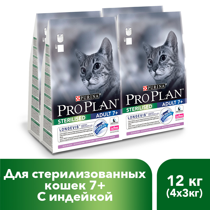 Dry Pro Plan food for sterilized cats and neutered cats with turkey, 12 kg. 3 5 inch hair comb for pets cats