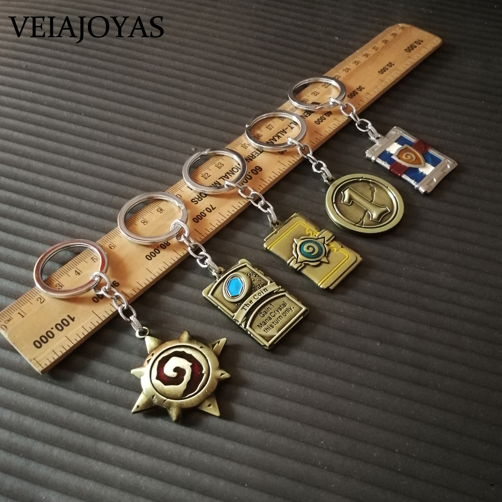 Complete Set Hearthstone Alloy Logo Keychains Heros of Warcraft Card Package Car Keyring Chaveiro Llaveros Game Key Chain Gifts ...