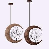 Массив дерева гравировка подвесные светильники прикроватная коридор Moon stlye древесины подвесной светильник гостиная Рун светодио дный art по