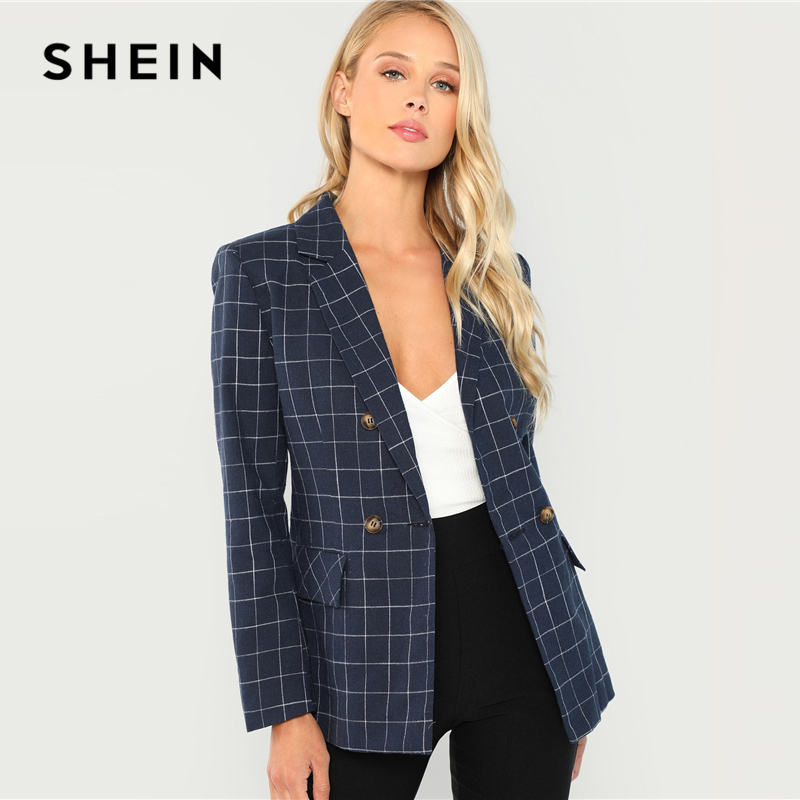 Shein Navy Cotton Office Lady Elegant Notched Neck Plaid Double Breasted Blazer Women Pocket Autumn Minimalist Coat Outerwear #1