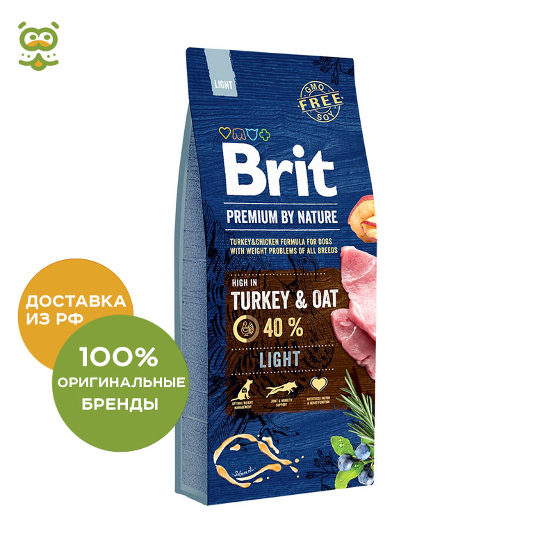 Food Brit Premium by Nature Light for dogs over weight, Chicken, 15 kg.