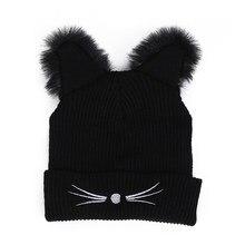 Chica mujeres moda punk del gato del diablo del invierno de hip hop Beanie  hat Cap regalo cd857e9716d
