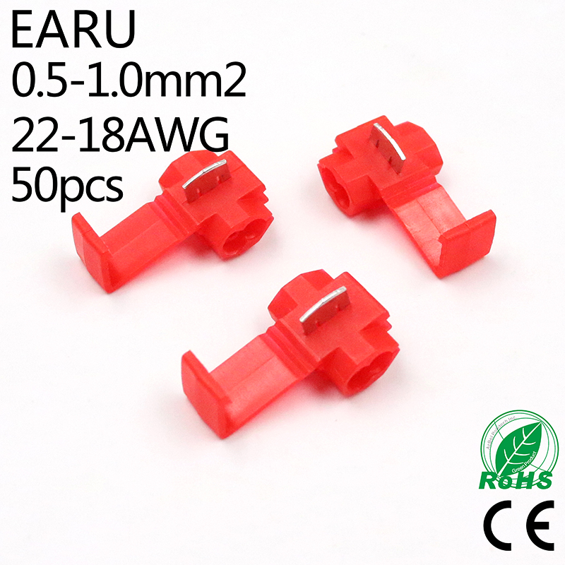 50PCS Red 0.5-1.0mm2 22-18 AWG Scotch Lock Wire Electrical Cable Connectors Quick Splice Terminals Crimp
