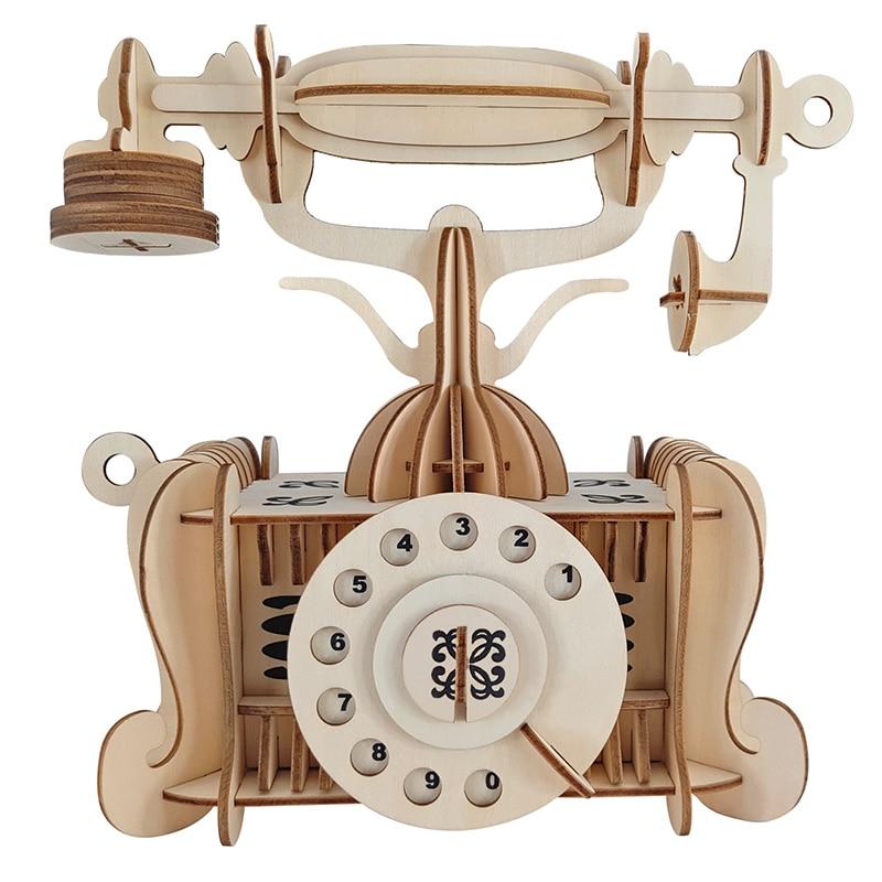 Jouet de bricolage téléphone à l'ancienne 3D modèle en bois constructeur pour adultes enfants enfants passe-temps patron estetica maquina modelarstwo