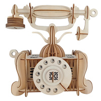 Old fashioned telephone diy toy 3D wooden model constructor for adults children kids hobby boss estetica maquina modelarstwo