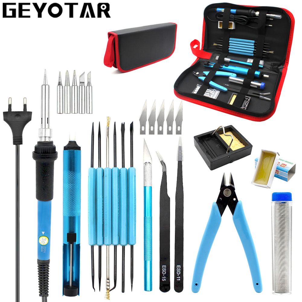 220v 60w Eu Plug Adjustable Temperature Electric Soldering Iron Kit Desoldering Pump Tin Wire Pliers Welding Tools Storage Bag(China)