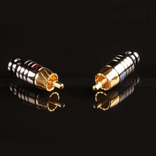 1 pair GODMUSIC Pure copper plated gold RCA Lotus plug Signal cable plug Audio plug 4MM aperture
