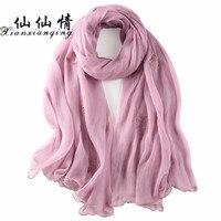 XIANXIANQING New Style Brand Winter Foulard Scarves Women Shawl Tartan Design Silk Scarf Big Size Hijab Fashion Silk AL14950