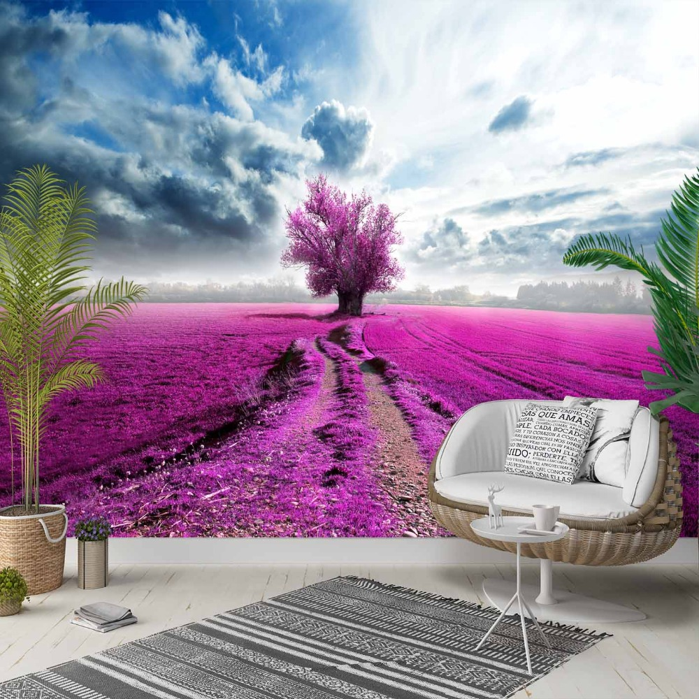Else Purple Lavender Farm In Tree Blue Sky 3d Photo Cleanable Fabric Mural Home Decor Living Room Bedroom Background Wallpaper