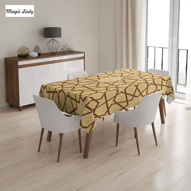 Genial Table Cloth Stars Arabesque Art Shapes Retro Decor Fractures Classic  Islamic Eid Mosque Cream Brown 145x120