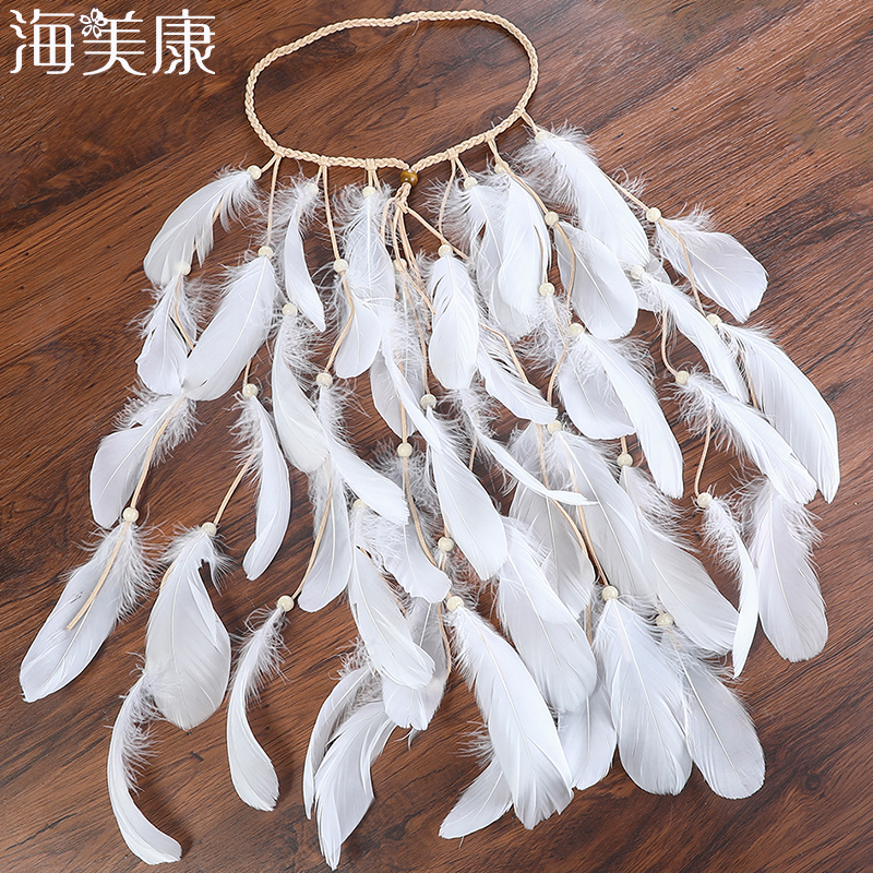 Haimeikang Bohemian Feather Headband Women Gypsy Feather Rope Headdress Crown Festival Wedding   Headwear   Hair Accessories