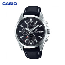 Наручные часы Casio EFV-560L-1A мужские с кварцевым хронографом на кожаном ремешке