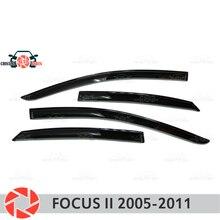 Окна отражатель для Ford Focus 2 2005-2011 Дождь Отражатель грязь защиты Тюнинг автомобилей украшения аксессуары для литья