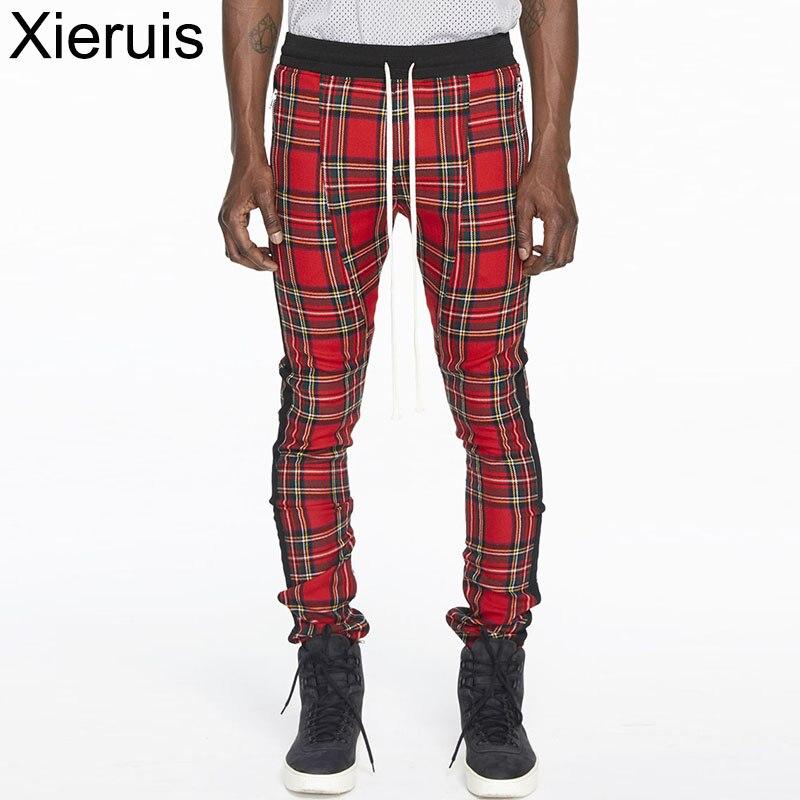 все цены на XIERUIS 2017 Autumn New Sweatpants Men Women Casual Pants Drawstring Waist Skinny Pants Fear Of God Fog Men Plaid Trousers
