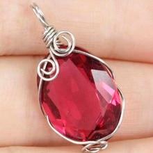 Handamde Pink Raspberry Rhodolite Garnet Wire Wrap Woman's Silver SheCrown Pendant 27x15mm