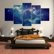 Modern Wall Art Canvas HD Prints Poster Home Decorative 5 Pieces Sky Full Of Stars Paintings Framework Room Modular Pictures