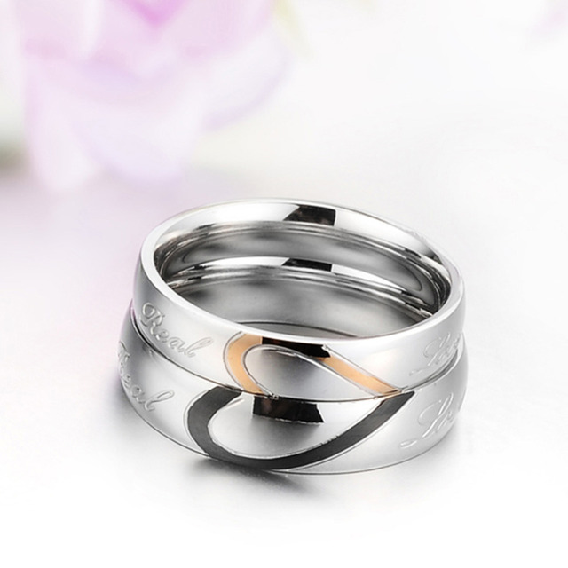 High Quality 1 Piece Romantic Stainless Steel Couple Wedding Engagement Lovers Ring Half  Heart Puzzle Men Jewelry His