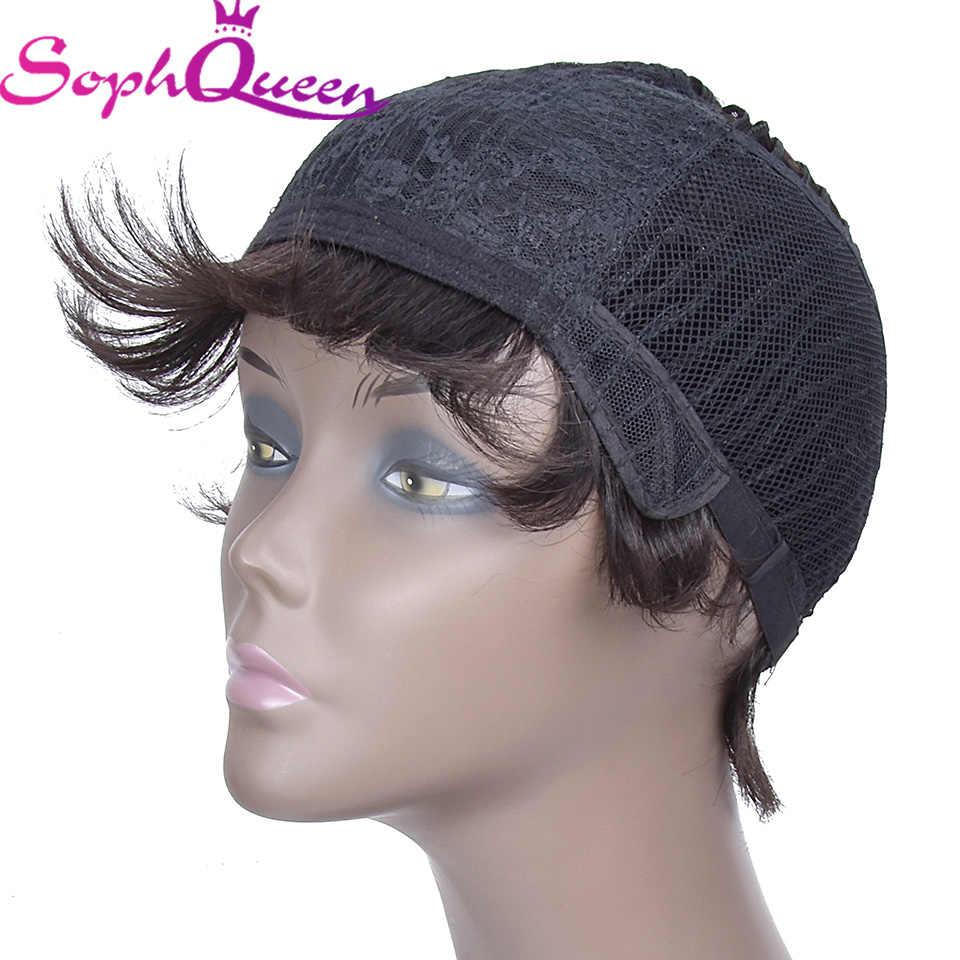 Soph Queen 1B Warna Rambut Manusia Wig untuk Wanita Brasil Lurus Bob Wig 3.5 Inci Tidak Ada Penumpahan Mesin H. nina Wig Pendek