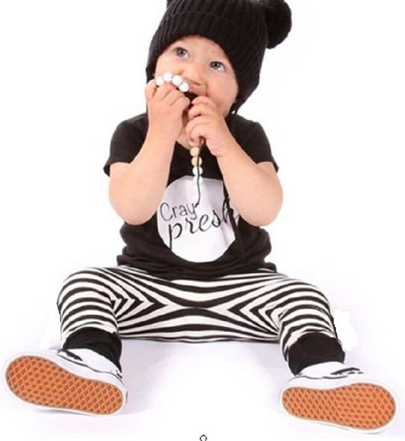 cbc00b835 Clearance 100CM Toddler Baby Boy Clothing Sets Children Boys Suit Handsome  Zebra Pants + Cotton t Shirts Boy Summer Outfits