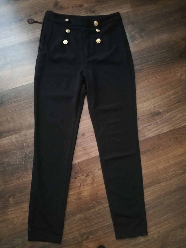Black Work Zipper Women Pants Capris Spring Trousers Skinny Sailor Pants  Double Button Mid Waist Casual Pants photo review