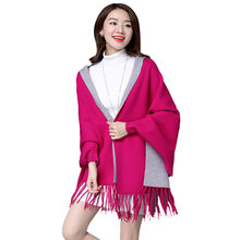 Haute Qualité Surdimensionné à Double Couleur À Double Usage Femmes D hiver  De Mode Cachemire Plaine Poncho Écharpe Pashmina Gla. b287f0f29a5