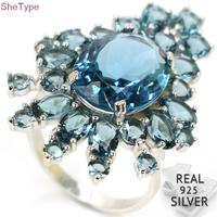 7.5# SheType 8.4g Big Size Dark London Blue Topaz Woman's Party 925 Solid Sterling Silver Ring 38x26mm