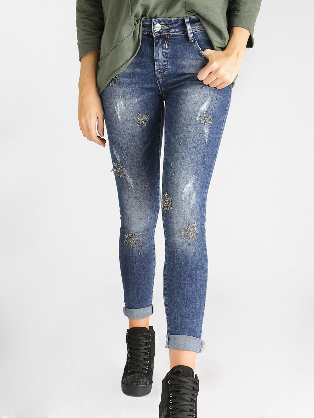 Jeans Effect Washed With Rhinestone