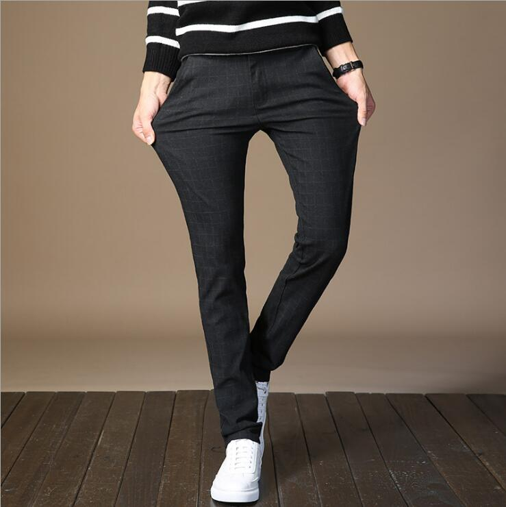 2018 autumn and winter casual pants mens straight Slim and cashmere thickened business elastic cotton sanding male trouse