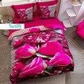 Еще 6 шт коричневого дерева на розовых розах сердца цветы 3D печать хлопок сатин двойной пододеяльник комплект постельного белья наволочка п...