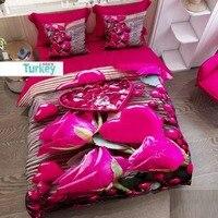 Innego 6 sztuka brązowy drewna na różowe róże serca kwiaty 3D druku bawełna satynowa podwójna poszewka na kołdrę zestaw poszewka na poduszkę łóżko czy doliczone zostaną dodatkowe opłaty w Kołdra od Dom i ogród na