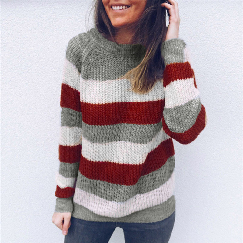 High quality sweaters fashion 2020 women Round Neck Striped Knitted Sweater party Jumper Pullover shirt Tops invierno A29#NTCTCC
