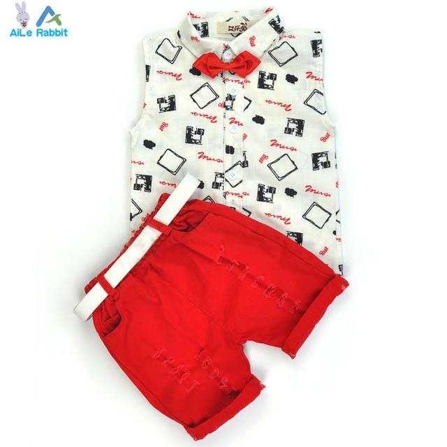 Горячая продажа! 2016 Летний стиль Детская одежда наборы для мальчиков девочек футболки + шорты + ремень 3 шт. брюки спортивный костюм детская одежда