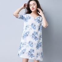 New Arrival Summer Maternity Dress Flower Printed Pregnancy Clothes Women Loose Dress Ethnic Style Maternity Clothes