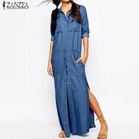 Plus Size 2018 ZANZEA Women Denim Blue Lapel Neck Long Sleeve High Split Buttons Shirt Dress