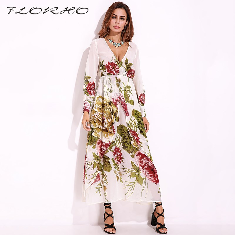 2018 Boho Flower Print Maxi Dress Sexy Sheer Casual Party Dresses Elegant  Women Long Sleeve Deep V neck Wrapped Long Dress 5XL-in Dresses from Women s  ... ba574798c316