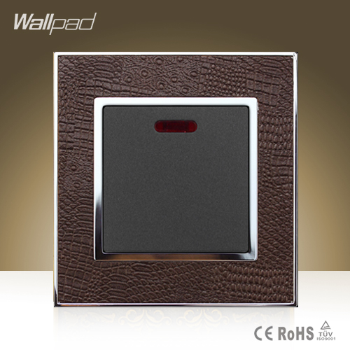 Hot Sale Wallpad Luxury 45A Wall Switch Goats Brown Leather Air Condition Push Button 45A Wall Switch with LED Free Shipping double computer socket free shipping hot sale china manufacturer wallpad push button luxury arylic mirror panel wall
