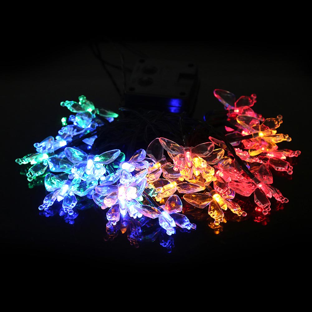 butterfly lamp stings Christmas LED string lights wedding decoration 30 LEDs solar lamp lights garden backyard decoration