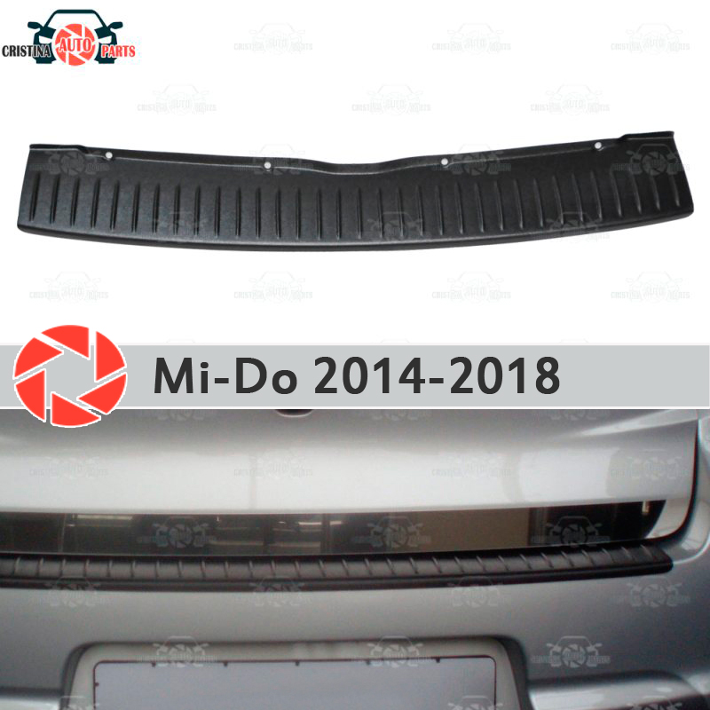 Plate cover rear bumper for Datsun Mi-Do 2014-2018 guard protection plate car styling decoration accessories molding s25 1156 ba15s p21w car led light bulb 13 smd 5050 brake rear turn signal light bulb leds lamp 12v white red car styling