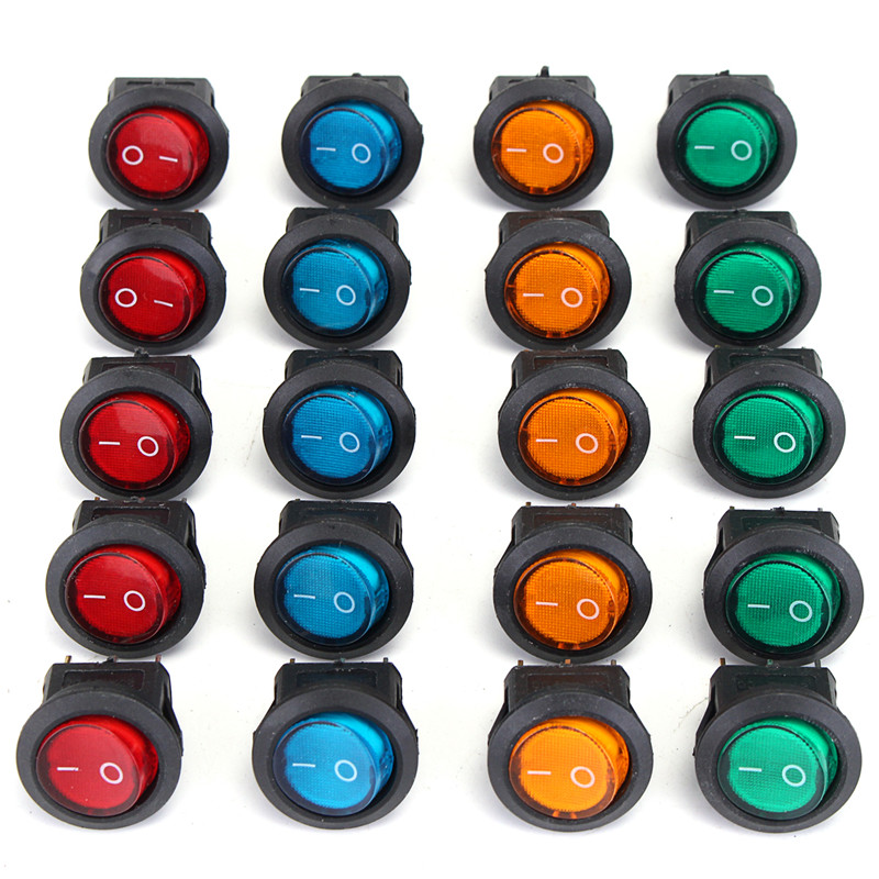 20 PCS 4 Colors 12V LED Dot Light Car Boat Auto Round ON/OFF Rocker Toggle SPST Switch 3 Pins g126y 2pcs red led light 25 31mm spst 4pin on off boat rocker switch 16a 250v 20a 125v car dashboard home high quality cheaper