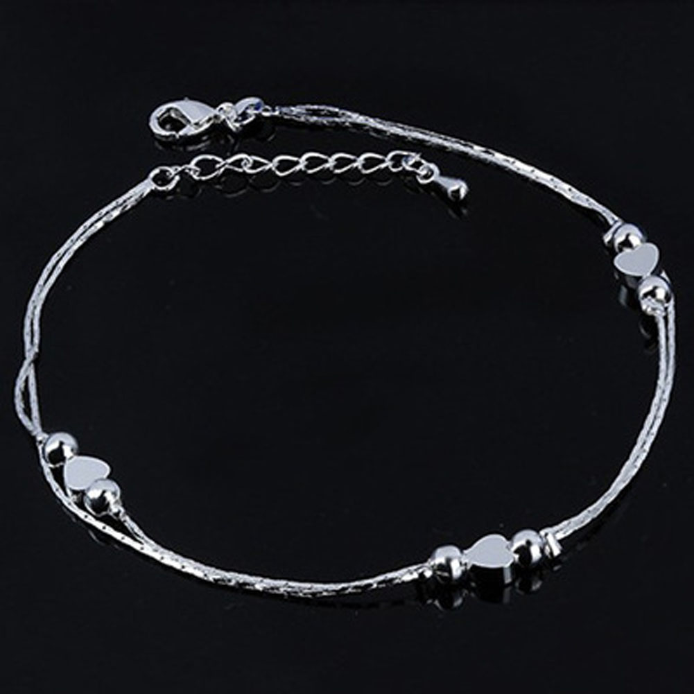 Hot Sell  Heart Anklet Foot Jewelry Silver Color Fashion Foot Chain Jewelry For Women Wholesale Price