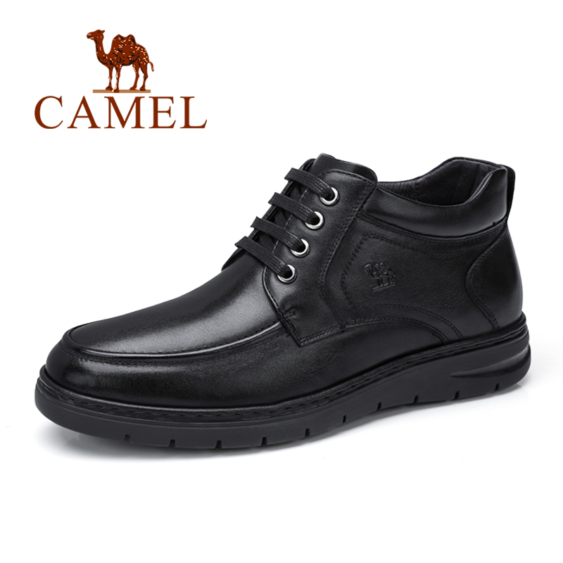 CAMEL Men s Shoes with Fur Business Casual Soft Natural Genuine Leather Short boots Lace Non