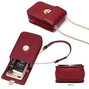 Image 5 - NEVEROUT אמיתי עור מיני אופנה טלפונים סלולריים ארנק כתף שקיות שק עיקרי קטן דש תיק גוף צולב שליח תיק מקרי