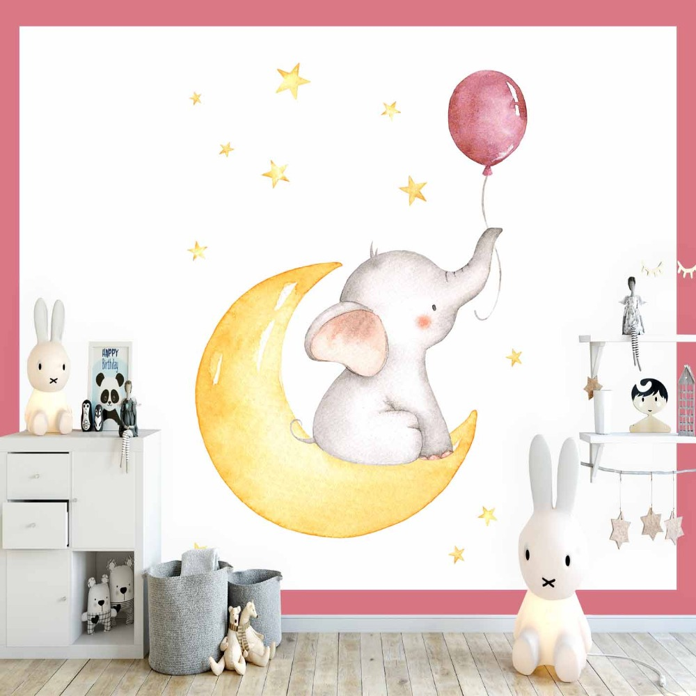 Else Pink Balloon Elephant Yellow Moon Star Girl 3d Print Cartoon Cleanable Fabric Mural Kids Children Room Background Wallpaper
