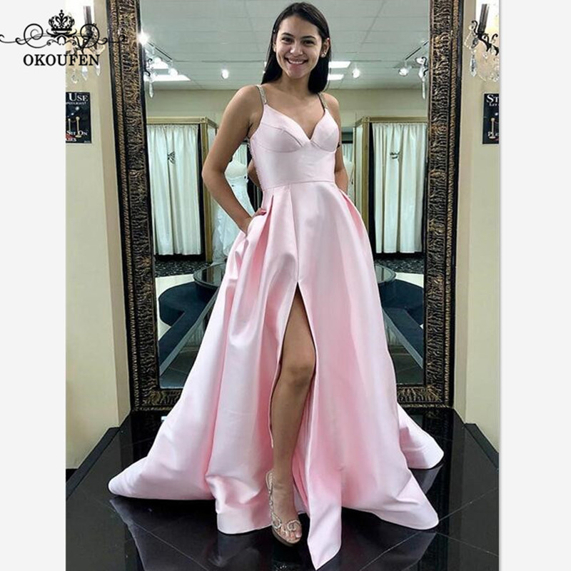 07a3e6ece91 Newest Light Pink Bridesmaid Dresses Spaghetti Strap Side Split A Line For  Women 2018 Long Prom Dress Pageant Formal Gown