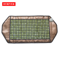 BYRIVER 92*45CM Cool Jade Stone Mat Far Infrared Heating Massage Relaxation Mattress Negative Ion Germanium Thermal Massager