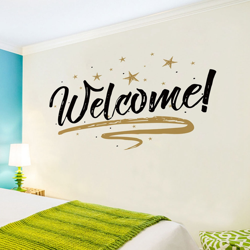 Home Decor Welcome  Wall Stickers Poster For LivingRoom Office DIY Black Letter Welcome Wallpaper Quote Removable Wall Decals